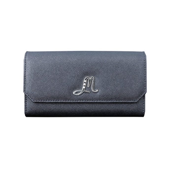 [Moolez] Saffiano Long Wallet With Lid Closed (Black)